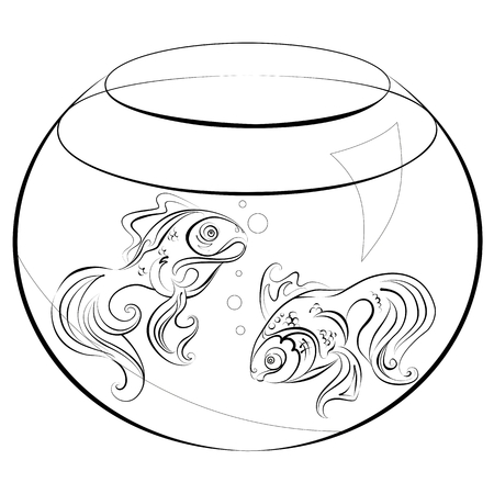 Illustration no fill color - two stylized goldfish in an aquarium Illustration