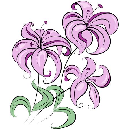 pistil: Illustration - stylized bouquet of flowers similar to lily Illustration