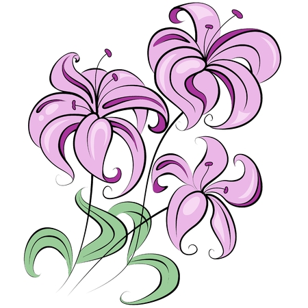flower fields: Illustration - stylized bouquet of flowers similar to lily Stock Photo