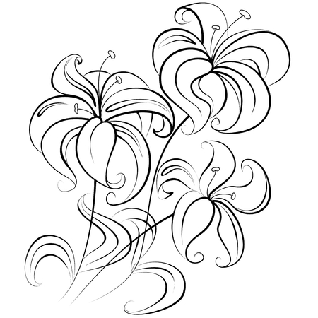 colorless: Illustration - stylized bouquet of flowers similar to a lily in a colorless version