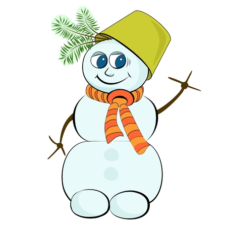 Cheerful snowman with a green bucket on his head Illustration