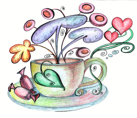 hallucinations: Stylized cup and saucer and chocolates from which strange flowers grow