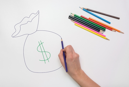 Hand drawn colored pencil bag of money Stock Photo