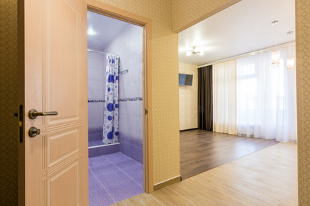 sold small: Interior of studio apartment, open door to the bathroom and view of the room Stock Photo