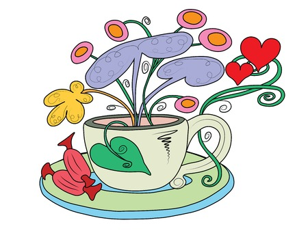 A tea Cup with fairy flowers growing out of it Banque d'images - 102914153