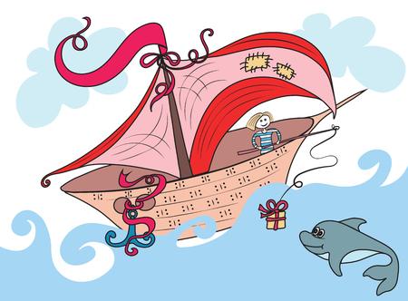 Fabuleux bateau naviguant sur l'océan, le marin à bord a jeté un cadeau Dolphin sur la canne Vecteurs