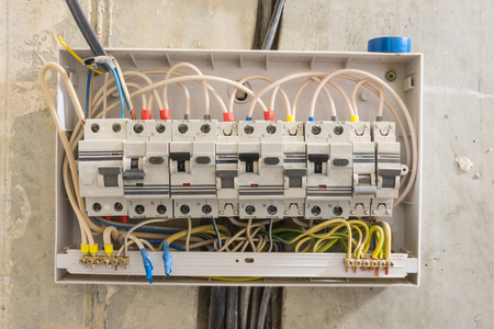 Junction box in the apartment, differential automatons and circuit breakers Stock Photo - 105814679