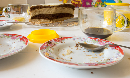Dirty dishes on the table after home tea