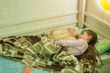 The girl sleeps in bed with a domestic cat Stock Photo