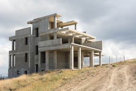 The unfinished frame of a private house Stock Photo