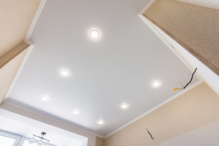 Stretch ceiling in the kitchen with installed and included spotlights Stock fotó