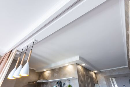 Zoned suspended plastered ceiling in the kitchen
