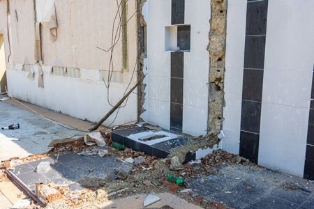Demolition of the building, disassembled sanitary unit, toilet