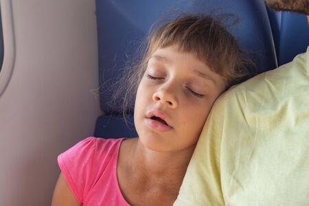 Girl sleeping leaning on her neighbors shoulder