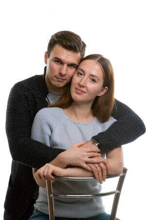 Portrait of a happy young couple on a white background Foto de archivo - 139721124