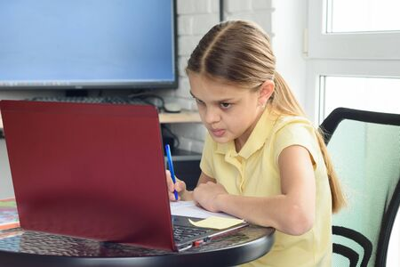 The girl is engaged in additional tutoring online