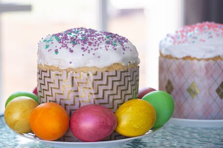 Easter still life with cake and painted eggs