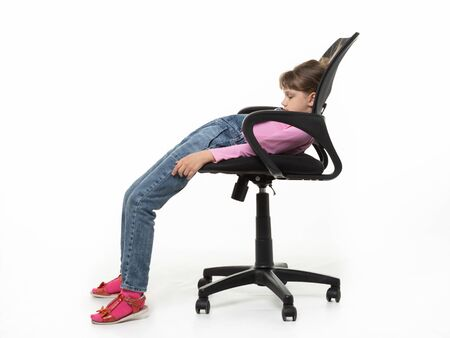 Girl ten years old funny got off the office chair