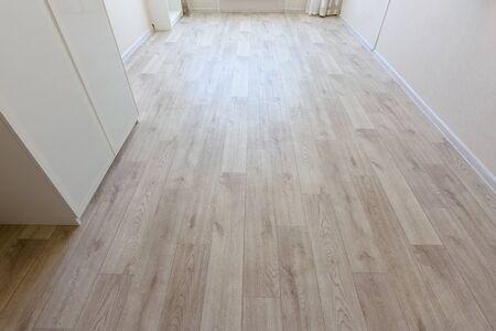 Linoleum flooring covering in bed room interior