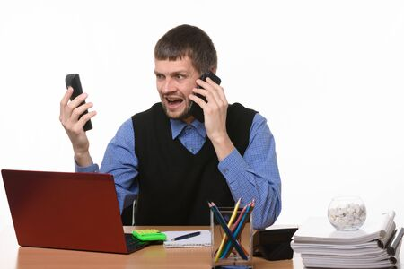 exasperated boss on the phone gives orders