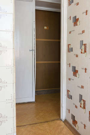 Anapa, Russia - June 25, 2020: Corridor in a small apartment with an outdated interior requiring renovation Editorial