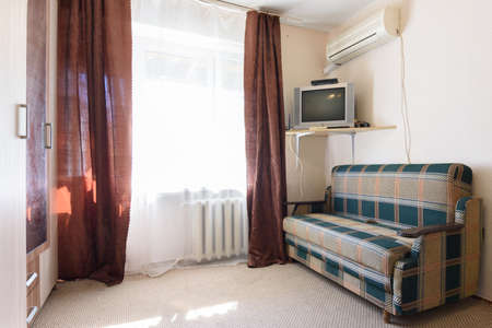 Interior of an economy room in a budget hotel Imagens