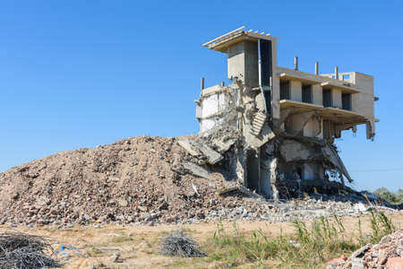 The destroyed illegally constructed building of the hotel complex