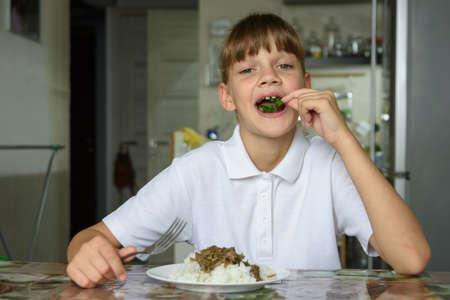 Happy little girl happily eating fresh herbs at lunch Standard-Bild