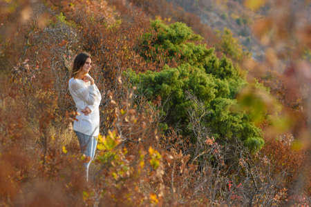 Girl walks in the forest on the mountainside Standard-Bild