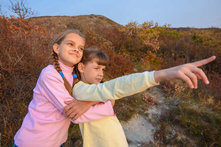 The girl hugs her sister who points her finger into the distance Standard-Bild