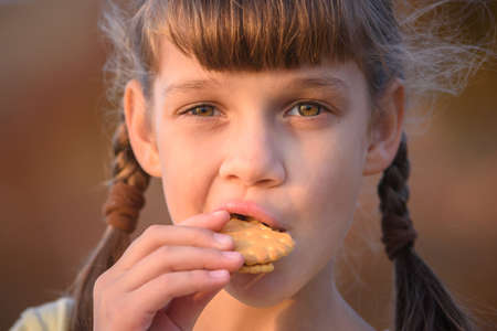 Cute cheerful little girl is eating cookies at sunset, close-up