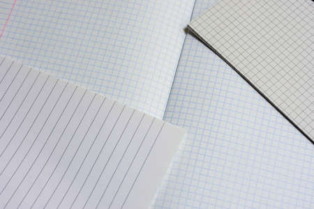 Opened notebooks in a cage and a line close-up