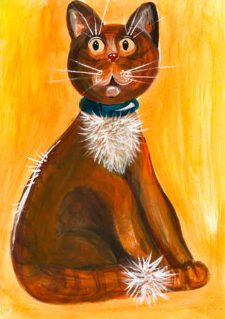 Drawn with acrylic paints funny cat with big eyes on a yellow background