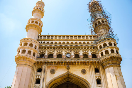 The Charminar, constructed in 1591, is a monument and mosque located in Hyderabad, Telangana, India.