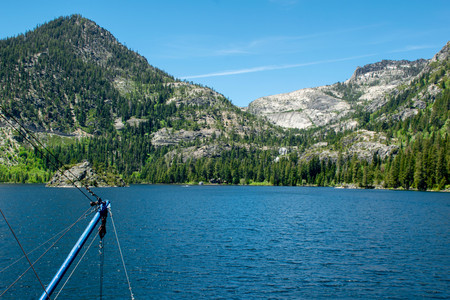 Emerald Bay State Park is a state park of California in the United States, centered on Lake Tahoes Emerald Bay, a National Natural Landmark. Stock Photo