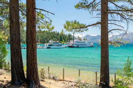 Zephyr Cove Beach is a popular location for weddings and receptions. Stock Photo