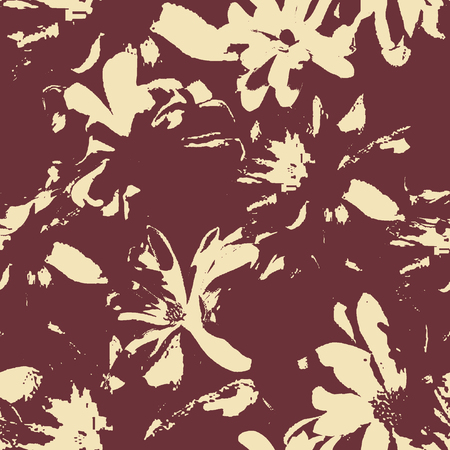 seamless abstract unfinished floral background pattern