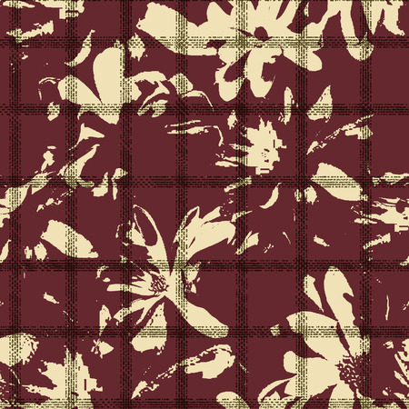 seamless flowered checks overlapped pattern