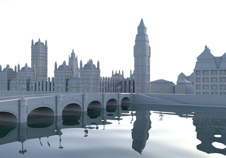 This 3d cartoon illustration shows a London city view