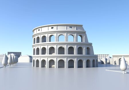 This 3d cartoon illustration shows a Colosseum view