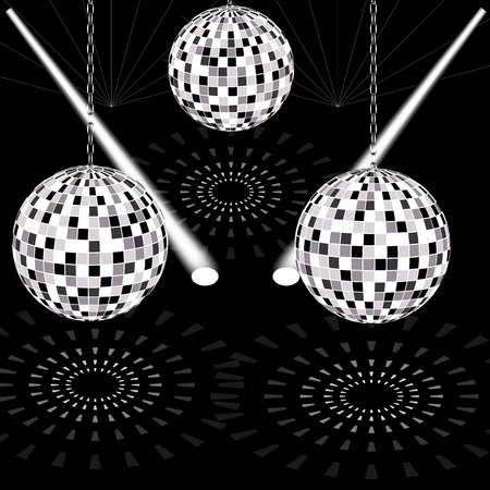 diffused: round sphere of small mirrors hanging from the ceiling on a chain around the beams of searchlights and laser