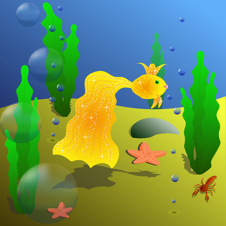 Queen Golden fish swiming in the deep sea is good design for game or wall-paper Vector