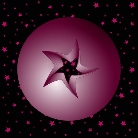 red sphere: sfera rossa nello spazio con un foro praticato nel mezzo di una stella