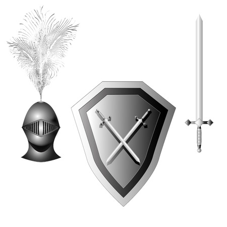 faithfulness: iron armor knight in three variants on a white background for your design