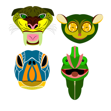 animal mouth: portraits of various wild animals: the saber-toothed tiger, the tarsier, a turtle and a chameleon Illustration