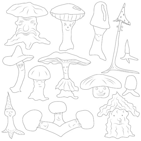 spot the difference: funny mushrooms of different structure, sentiments and forms Illustration