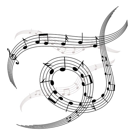 stave: waves and spirals of music notes and stave. musical elements for your design Illustration