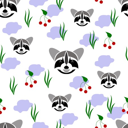 racoon: Seamless of racoon portrait on white background with grass, branch of berry and light blue share. seamless of wild animal and nature for your design Illustration