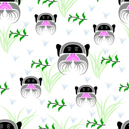 emperor: Seamless of emperor tamarin portrait on white background with green leaves on branches, light green grass and light blue grass. seamless of wild animal and nature for your design