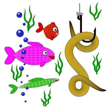 underwater fishes: small fishes underwater looking at worm on the hook. underwater world of fish with bait for fishing